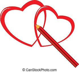 lápis, coração vermelho