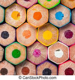 lápis, costas, cor, empilhado, vista