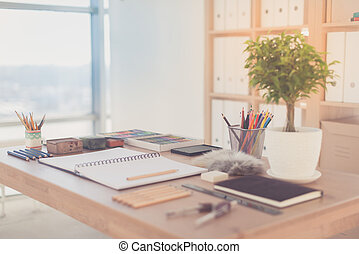 lápis, creions, coloridos, artista, drawing., organizado, paleta, desktop, local trabalho, pronto, pastel