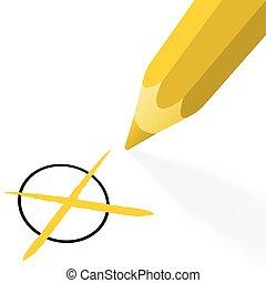 lápis, crucifixos, amarela