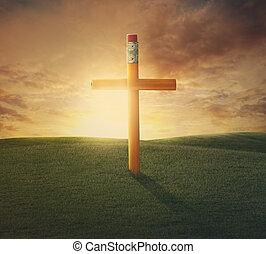 lápis, crucifixos