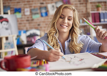 lápis, desenho, mulher, cintura cima