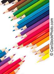 lápis, diagonal, coloridos, fila