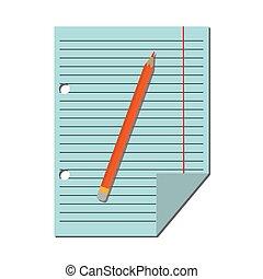 lápis, direita, folha, régua, campo, papel, vermelho