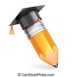 lápis, e, boné graduação, ícone