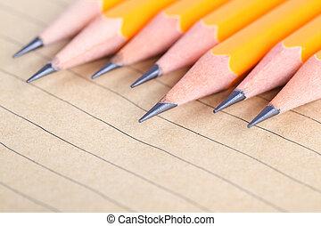 lápis, e, caderno