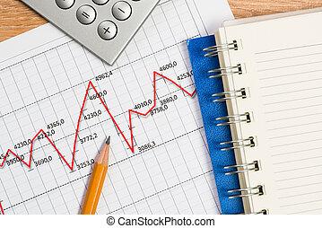 lápis, e, gráfico, crescimento, local trabalho, homem...
