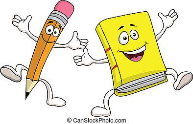 lápis, e, livro, caricatura, personagem