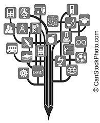lápis, educação, árvore