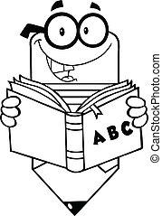 lápis, esboçado, livro leitura
