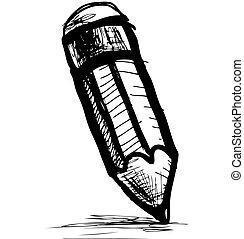 lápis, esboço, ícone, estilo, doodle