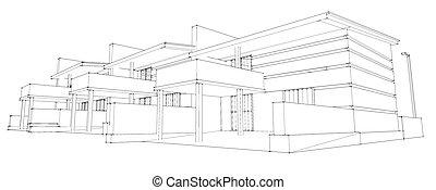lápis, esboço, de, residencial, desenvolvimento