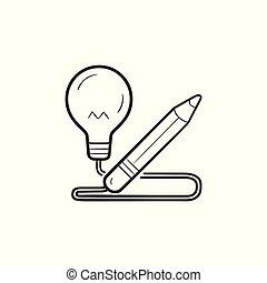 lápis, esboço, luz, mão, bulbo, desenhado, icon., doodle