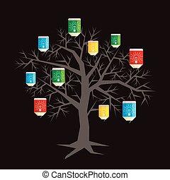 LÁPIS, escola, árvore, costas