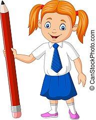 lápis, escola, caricatura, menina, segurando
