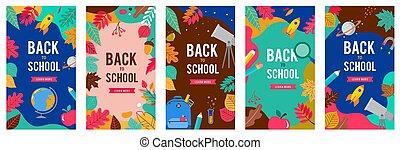 lápis, escola, jogo, caneta, maçã, shopping, costas, venda, diferente, vetorial, backgrounds., bandeiras, folhas, signs., illustration.