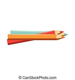 lápis, escola, jogo, cores, utensílios