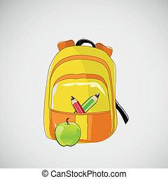 lápis, escola, mochila, maçã, luminoso