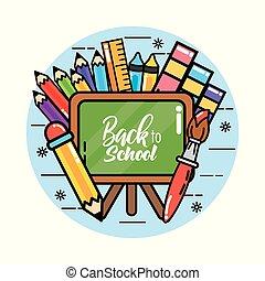 lápis, escola, régua, costas, cores, quadro-negro
