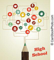 lápis, escola, rede, costas, icons., social, educação
