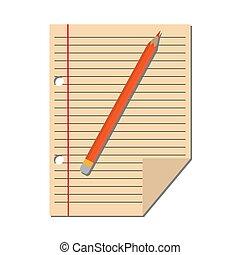 lápis, folha, régua, papel, margem, vermelho, esquerda