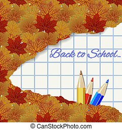 lápis, folhas, outono, fundo, abstratos, maple