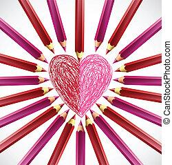 lápis, forma, vetorial, heart.