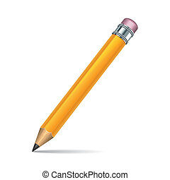 lápis, fundo branco, isolado, amarela