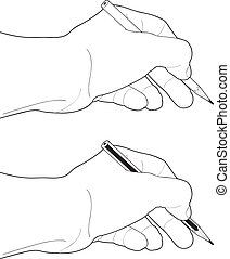 lápis, fundo branco, mão
