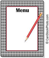 lápis, gingham, pretas, menu, quadro