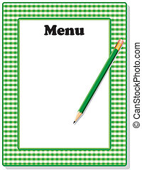 lápis, gingham, verde, menu, quadro