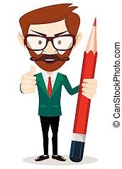 lápis, grande, ou, casaco, professor, homem negócios, sorrindo, caricatura, vermelho