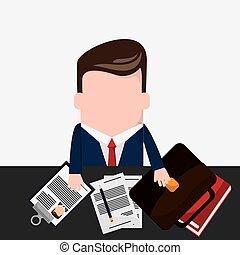 lápis, gravata, homem negócios, documento, caricatura, ícone