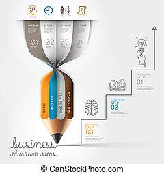 lápis, infographics, negócio, step.