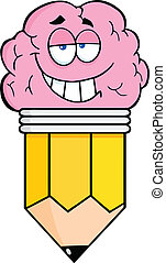lápis, inteligente, personagem, caricatura