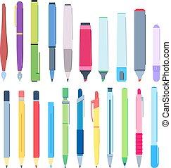 lápis, jogo, canetas, highlighter, ilustração, escrita, vetorial, pencils., marcador, caricatura, caneta, desenho