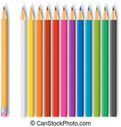lápis, jogo, colorido