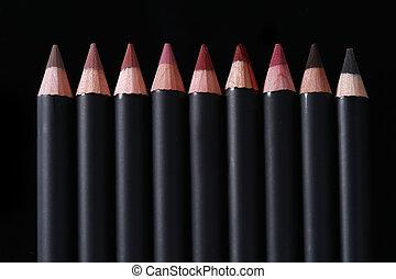 lápis, lábio, pretas, forro, fundo