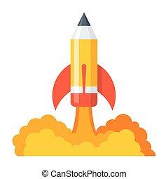 lápis, lançamento, ícone