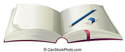 lápis, livro, borracha