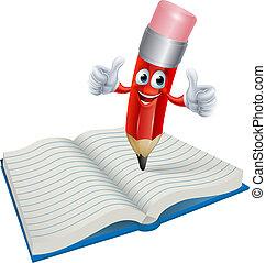 lápis, livro, caricatura, homem, escrita