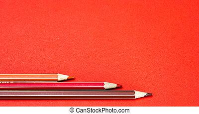 lápis, luminoso, experiência colorida, vermelho