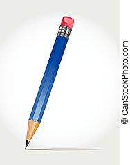 lápis madeira, afiado, whi, isolado