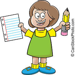 lápis, menina, papel, segurando