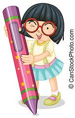 lápis, menina, segurando