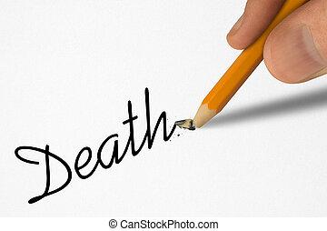 lápis, mortos, palavra, mão, quebrada, papel