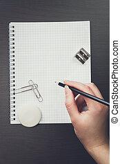lápis, mulher, caderno, escritório, escrita