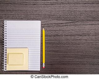 lápis, notas, espiral, pegajoso, escrivaninha, caderno
