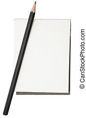 lápis, notepad