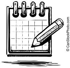 lápis, organizador, planejador, ou